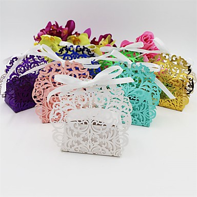 Others Card Paper Favor Holder with Ribbons Favor Boxes - 50
