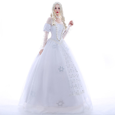 Princess Queen Cosplay Costume Party Costume Masquerade Women's Movie Cosplay White Dress Petticoat Wig Christmas Halloween Carnival Chiffon Satin