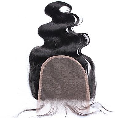 baratos Fechamento & Frontal-CARA Cabelo Indiano 5x5 Encerramento Onda de Corpo Parte gratuito / Parte Médio / Parte 3 Tela Francesa Cabelo Humano Com Baby Hair