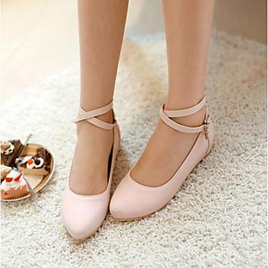Damen Schuhe PU Sommer Komfort Flache Schuhe Für Normal Schwarz Grün Rosa