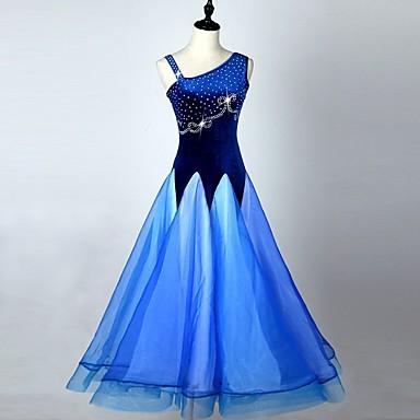 Ballroom Dance Dresses Women's Performance Corduroy Paillette Splicing Sleeveless High Dress