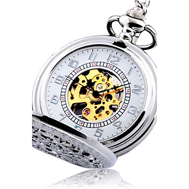 746702fe1 Men's Pocket Watch Automatic self-winding Silver Hollow Engraving Analog  Vintage Steampunk - Silver