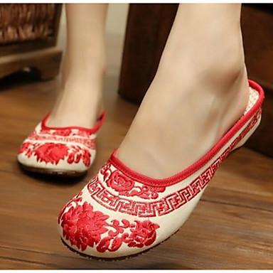 Damen Schuhe Stoff Sommer Komfort Slippers & Flip-Flops Für Normal Rot Blau