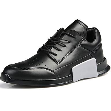 Herrn Schuhe Stoff Sommer Herbst Komfort Sportschuhe Walking Schnürsenkel für Normal Weiß Schwarz Schwarz/weiss
