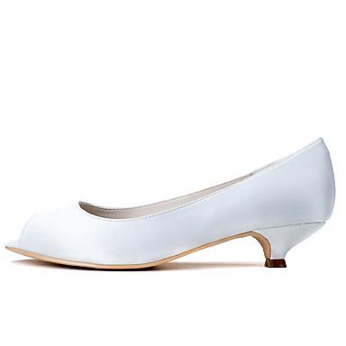 Női Cipő Szatén Tavasz / Nyár Formai cipő Esküvői cipők Vaskosabb sarok Köröm Fehér / Party és Estélyi