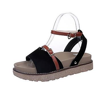 Damen Sandalen Komfort Frühling PU Normal Schwarz Khaki 5 - 7 cm
