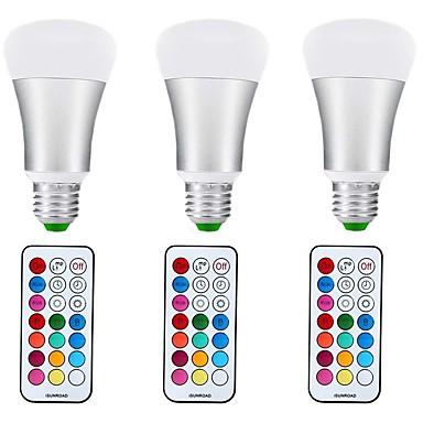 3pcs 10 W 1000 lm E27 LED Globe Bulbs A70 1 LED Beads COB Dimmable / Decorative RGB+Warm 85-265 V / 3 pcs