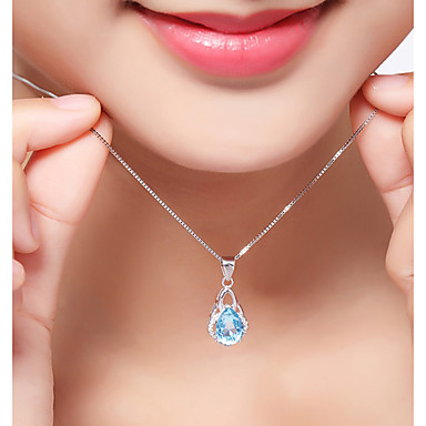 Women's Synthetic Diamond Geometric Pendant Necklace - Sterling Silver, Zircon Luxury, Classic, Bohemian White Necklace For Christmas, Party, Graduation