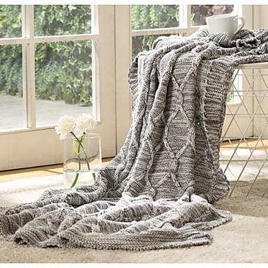 Strick Massiv Baumwolle/Polyester Decken
