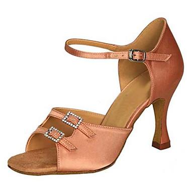 Női Latin cipők Selyem Szandál Teljesítmény Csat / Kristályok / Strasszok Kubai sarok Személyre szabható Dance Shoes Barna / Mandula