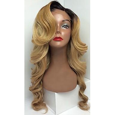Damen Echthaar Perücken mit Spitze Echthaar Spitzenfront Ohne Klebstoff und  Spitze in der Front 130% Dichte Natürlich gewellt Perücke
