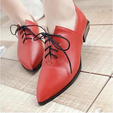 Damen Schuhe PU Frühling Komfort High Heels Für Normal Schwarz Rot Dunkelbraun