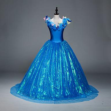 Cosplay Kostuums Prinses Cinderella Sprookje Film cosplay blauw Kleding Onderrok Halloween Kerstmis Nieuwjaar Vrouwelijk Satijn Organza