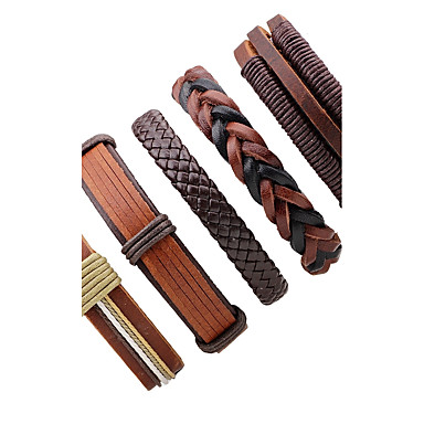 Men's Women's Leather Bracelet - Leather Rock, Fashion Bracelet Jewelry Brown For Stage Going out
