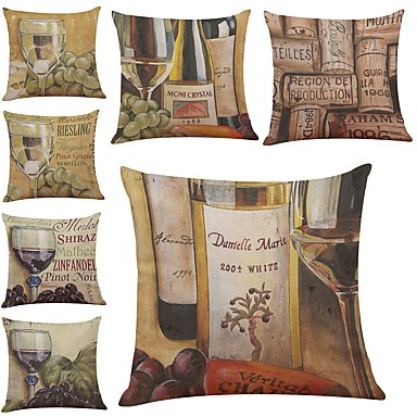 7 pcs Linen Pillow Cover / Pillow Case, Textured / Wildlife / Quotes & Sayings Modern / Contemporary / Office / Business / Traditional / Classic