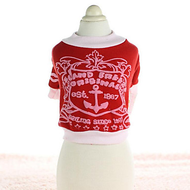 Dog Sweatshirt Dog Clothes Sailor Red / Green / Blue Cotton Costume For Pets Summer Men's / Women's Casual / Daily