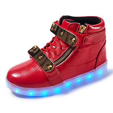 Jungen Schuhe Leder Frühling Herbst Komfort Leuchtende LED-Schuhe Sneakers Walking Klett LED für Sportlich Normal Draussen Weiß Schwarz