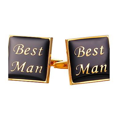 Square Cut Golden Cufflinks Vintage / Fashion Men's / Women's Costume Jewelry For