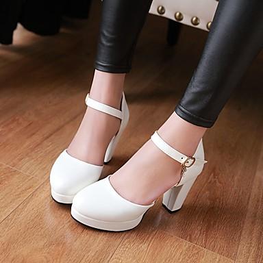Damen Schuhe PU Frühling Komfort High Heels Blockabsatz Runde Zehe Für Normal Weiß Schwarz Rosa