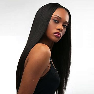 abordables Perruques Synthétiques Sans Bonnet-Perruque Synthétique Droite naturelle Kardashian Style Partie médiane Sans bonnet Perruque Noir Noir Cheveux Synthétiques Femme Résistant à la chaleur / Mode Noir Perruque Long