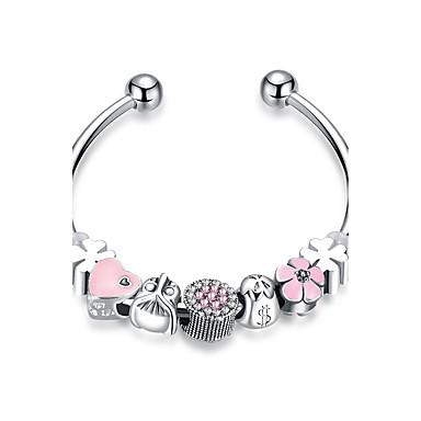 Damen Kristall / Kubikzirkonia Armreife / Manschetten-Armbänder - versilbert Süß, Elegant Armbänder Rosa Für Hochzeit / Party