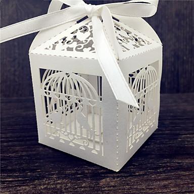 Kocka alakú/köb Gyöngy-papír Favor Holder val vel Szalagok Ajándék dobozok
