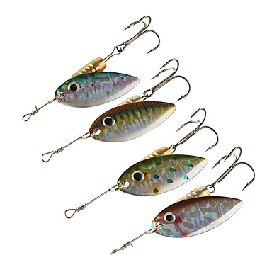 4 pcs Spoons Buzzbait & Spinnerbait Metalic Copper Bait Casting Spinning Jigging Fishing Freshwater Fishing Other General Fishing Lure