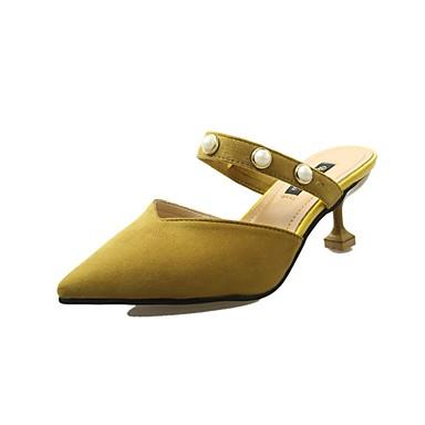 Női Kasmír / Szövet Nyár Kényelmes Szandálok Tűsarok Erősített lábujj Gyöngydíszítés Fekete / Sárga