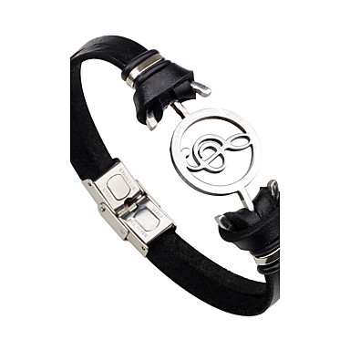 Men's / Women's Leather Bracelet - Stainless Steel, Leather Music Notes Personalized, Rock, Fashion Bracelet Black / Brown For Gift / Stage / Street
