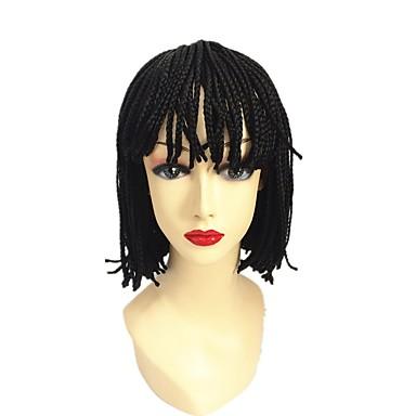 Szintetikus parókák Bob frizura Afrikai hajfonat / Fonott paróka / 100% kanekalon haj Fekete Sapka nélküli Természetes paróka Rövid /