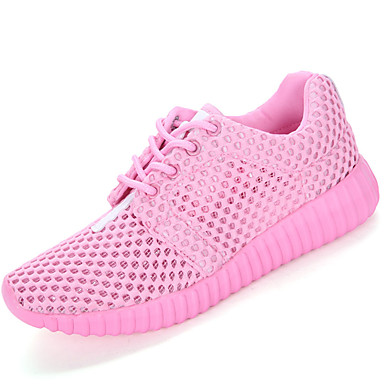 Women's Shoes Breathable Mesh Spring / Summer Comfort / Light Soles Athletic Shoes Flat Heel Round Toe Lace-up White / Black / Pink