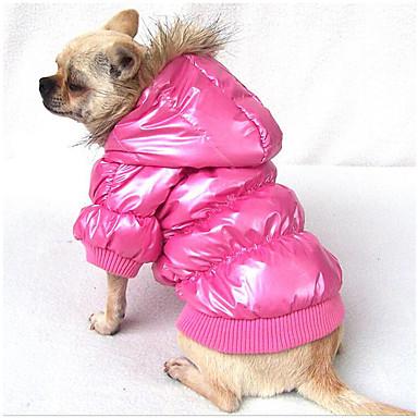 Hund Kapuzenshirts Daunenjacken Hundekleidung Solide Braun Blau Rosa Polyester Baumwolle Daune Kostüm Für Haustiere Herrn Damen Lässig /
