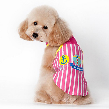 Dog Vest Dog Clothes Stripe Blue / Pink Cotton Costume For Pets Summer Men's / Women's Casual / Daily