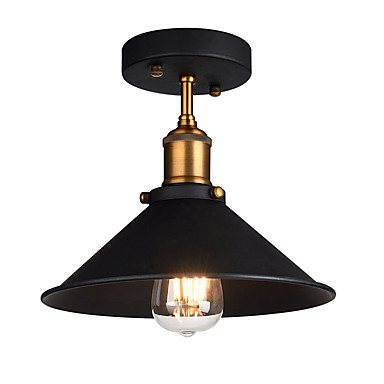 Diameter 26cm Industrial Ceiling Light Semi Flush Vintage Metal 1 Light Ceiling Lamp Dining Room Kitchen Light Fixture  #06105283 by Lightinthebox