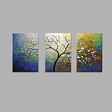 Hang festett olajfestmény Kézzel festett - Virágos / Botanikus Művészi Vászon / Nyújtott vászon