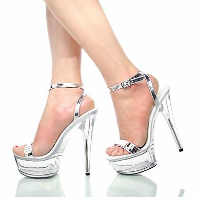 Sandales Boucle ouvert Chaussures formelles Polyuréthane Paillettes Eté Aiguille Femme Argent Chaussures Talon 06153053 Bout Paillette cgqCTwXYX