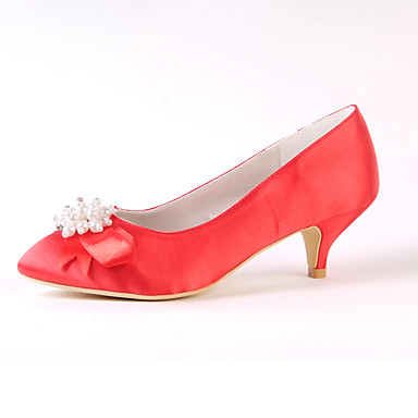 Women's Silk Spring / Fall Basic Pump Wedding Shoes Low Heel Closed Toe Rhinestone / Bowknot / Pearl Red / Ivory / Party & Evening