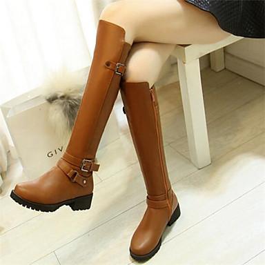 Damen Schuhe PU Herbst Winter Komfort Stiefel Für Normal Schwarz Braun