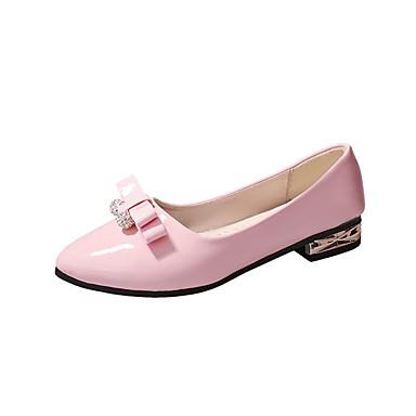 Női Cipő PU Ősz Kényelmes Lapos Lapos Erősített lábujj Csokor mert Fekete Rózsaszín