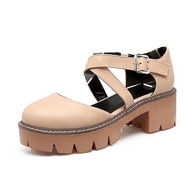 Damen Schuhe PU Sommer Komfort Sandalen Für Normal Schwarz Grau Mandelfarben