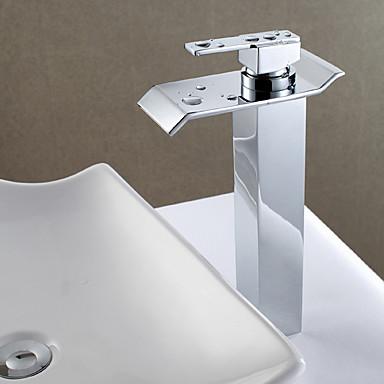 Waschbecken Wasserhahn - Wasserfall Gute Qualität Chrom Mittellage Einhand Ein Loch
