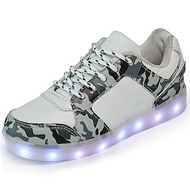 Jungen Schuhe Künstliche Mikrofaser Polyurethan Winter Herbst Komfort Leuchtende LED-Schuhe Sneakers Schnürsenkel für Normal Weiß Schwarz