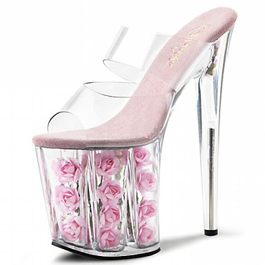 Women's Shoes PVC(Polyvinyl chloride) Summer Slippers Sandals Stiletto Heel Peep Toe Crystal / Flower Fuchsia / Red / Pink