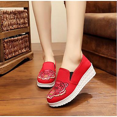 Damen Loafers & Slip-On Komfort Sommer Stoff Normal Rot Grün 5 - 7 cm