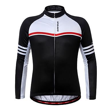 WOSAWE Long Sleeve Cycling Jersey - Black Bike Jersey, Quick Dry Polyester, Fleece