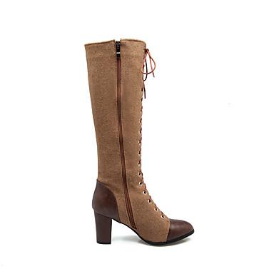 Femme la Bottes à Chaussures Mode Talon Synthétique 06277733 Nylon de Bride Cheville Automne Bottes Bottes Similicuir Hiver Cavalières qqBrOxA
