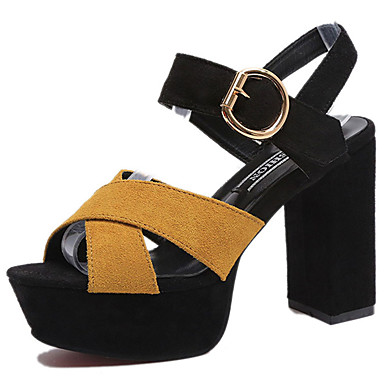 Women's Shoes PU(Polyurethane) Spring / Summer Comfort / Gladiator / Basic Pump Sandals Chunky Heel Peep Toe Buckle Black / Yellow / Red