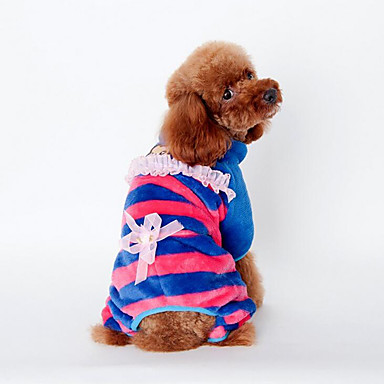 Dog Jumpsuit Dog Clothes Stripe Yellow / Blue / Pink Plush Fabric Costume For Pets Men's / Women's Casual / Daily