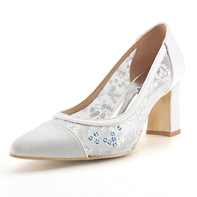 Women's Shoes Lace / Paillette / Net Summer / Fall Basic Pump Wedding Shoes Chunky Heel Pointed Toe White / Light Pink / Royal Blue