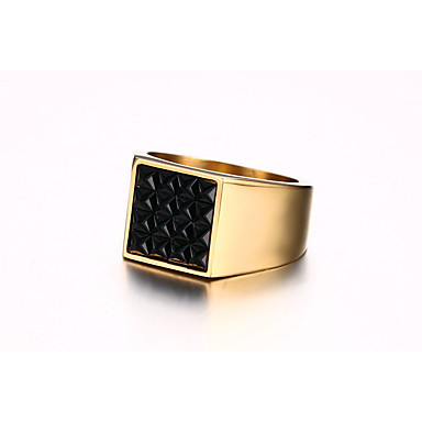 Men's Obsidian Band Ring - Personalized, Vintage, Fashion 8 / 9 / 10 Gold For Wedding / Daily / Ceremony